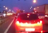 Объезд вечерней пробки перед Щербинкой (видео)